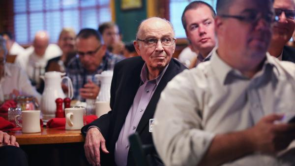 Iowa's Westside Conservative Club holds breakfast meetings at a Machine Shed restaurant outside Des Moines. Longtime GOP Sen. Chuck Grassley spoke at a recent breakfast.