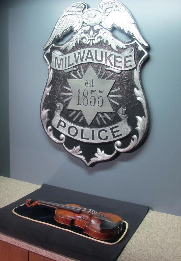 The Lipinski Stradivarius violin is displayed at the Milwaukee Police Department on Feb. 6.