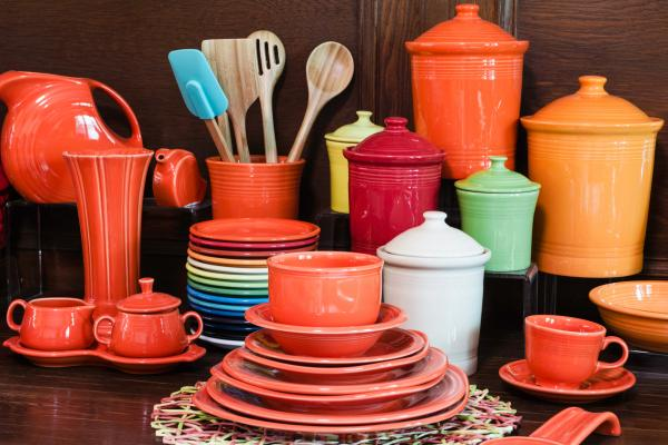 Fiesta settings are displayed at the Homer Laughlin China Co. showroom at the company's headquarters in Newell, W.Va. The line currently has 15 colors.