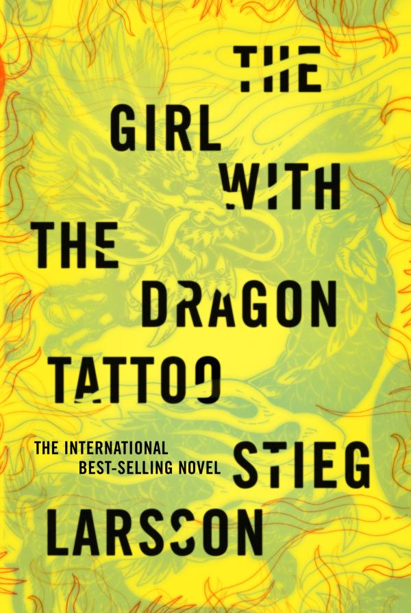 """""""My first inclination was to use the colors of a tattoo,"""" Mendelsund explains of his <em>Girl with the Dragon Tattoo</em> jacket, """"but brighter colors won the day."""""""