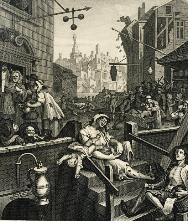 """A depiction of """"Gin Lane,"""" filled with sins caused by drunken revelries."""