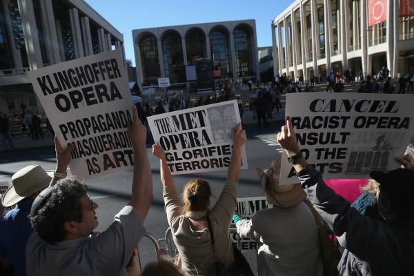 "Several hundred protesters picket the opening night of the Metropolitan Opera season at Lincoln Center, Sept. 22, 2014. ""You will be made to destroy that set,"" Jeffrey Wiesenfeld said."