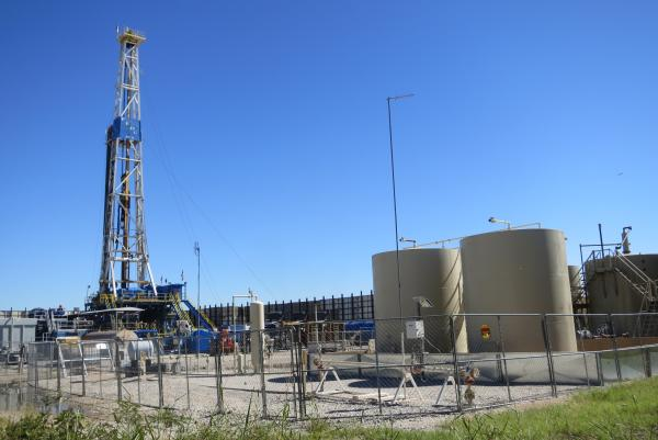 A natural gas well is drilled in the city of Denton, Texas.