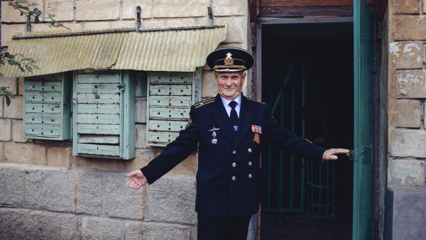Valentin Danilov, 83, is a resident of Sevastopol, Crimea, and a former executive officer on a Soviet submarine. He still wears his military uniform in public though he's long since retired. He says he got some dirty looks when Crimea was part of Ukraine, but now that Russia is in control, he says, the uniform is welcome.