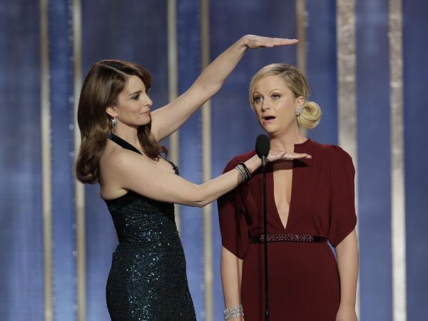 "Amy Poehler (right) and Tina Fey hosted the Golden Globe Awards in 2013 and 2014. Poehler says they have to be ""democratic"" about who gets to tell which jokes."