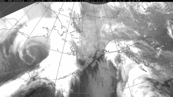 A massive storm brews off the west coast of Alaska.