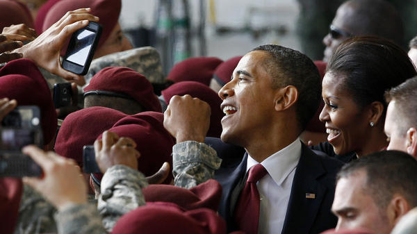 President Obama and first lady Michelle Obama with troops at Fort Bragg, N.C., today (Dec. 14, 2011) after his address.