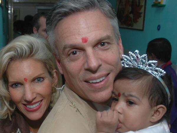 Jon Huntsman and his wife, Mary Kaye, with their adopted daughter, Asha Bharati, at Matruchhaya Orphanage in Nadiad, India, Dec. 19, 2006.