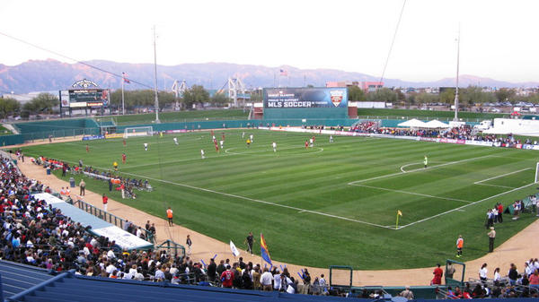 The L.A. Galaxy plays against Real Salt Lake at Kino Stadium in Tuscon, Ariz.
