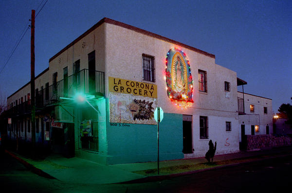 <em>Segundo Barrio, El Paso, Texas,</em> 2005. Many stores have come and gone in this building through the years. The residents of the Segundo Barrio community have maintained it on their own initiative, for decades, as far back as anyone can remember.