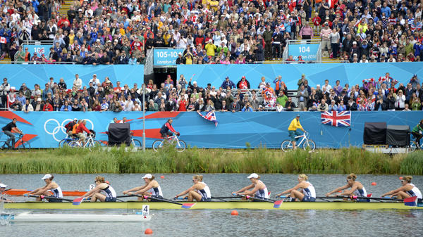 The U.S. team races to their second straight gold medal in the women's eight rowing event at the London 2012 Olympic Games, at Eton Dorney Rowing Centre in Eton, west of London.