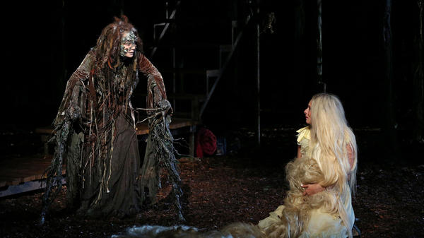 Donna Murphy plays the Witch and Tess Soltau her ward Rapunzel in <em>Into the Woods</em>, running as part of the Public Theater's 50th-anniversary Shakespeare in the Park season.