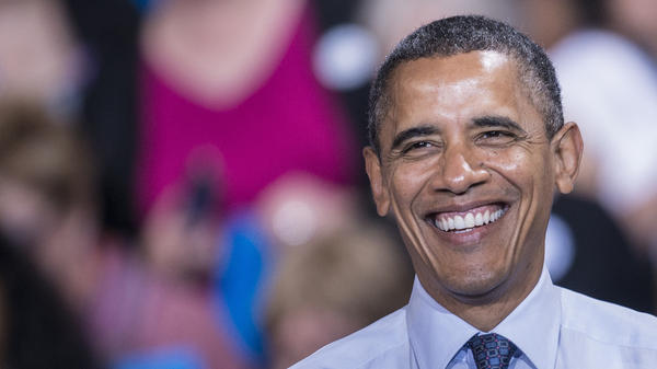 President Obama smiles during a rally Friday at George Mason University in Fairfax, Va.