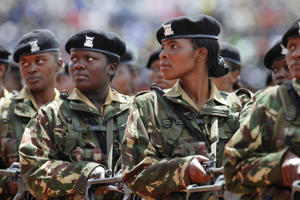Kenya women army soldiers during march past at the Nyayo National Stadium, in Nairobi, on June 1, 2012, during the 49th Madaraka Day celebrations, which marks the independence from British rule.