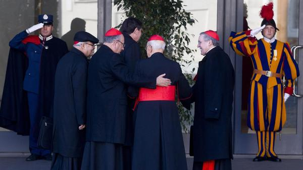 Some of the cardinals as they arrived for today's meeting in Vatican City.