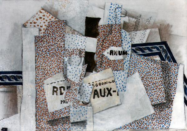 <p>Georges Braque's B<em>outeille de rhum (Bottle of Rum) </em>Spring 1914.</p><p>Oil on canvas</p><p></p>