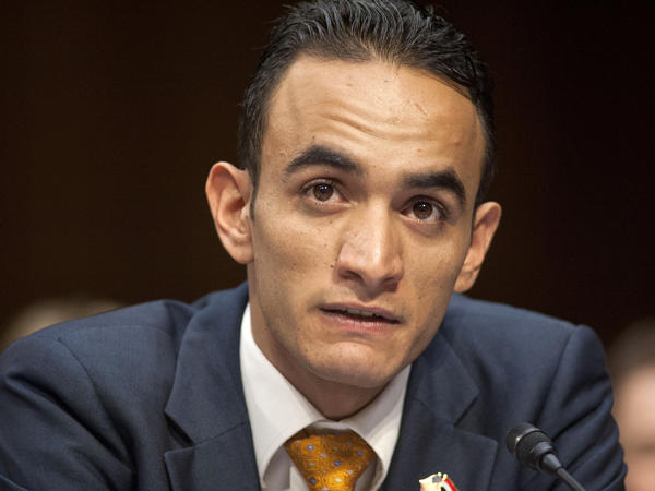 Farea al-Muslimi, from Sana'a, Yemen, testifies on Capitol Hill on April 23 before the Senate Judiciary subcommittee on the Constitution, Civil Rights, and Human Rights.