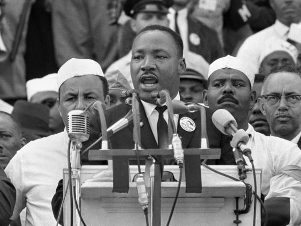 "Martin Luther King Jr. addresses marchers during his ""I Have a Dream"" speech."