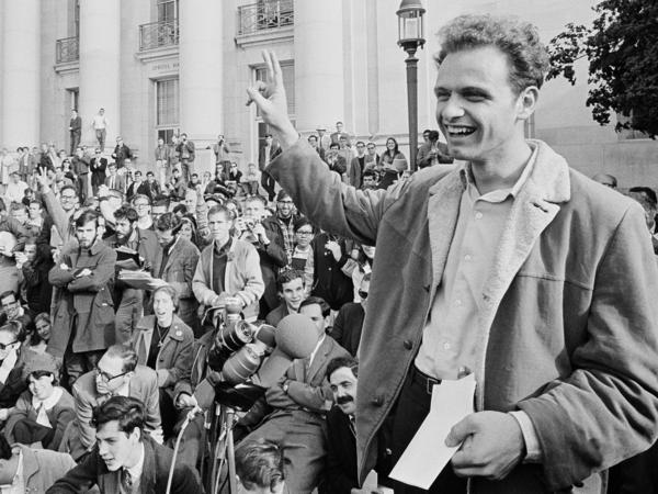 Mario Savio, shown here at a victory rally in the University of California, Berkeley's Sproul Plaza on Dec. 9, 1964, was the face of the free speech movement.