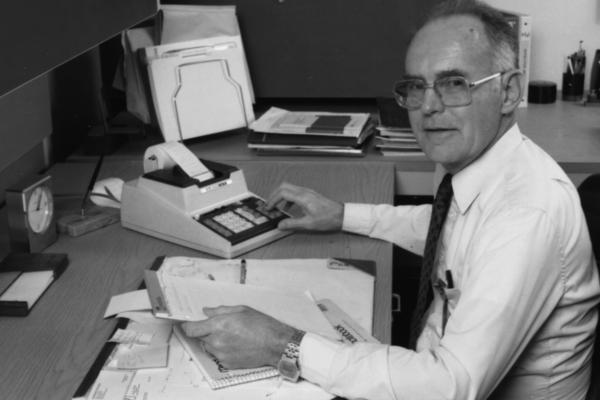 Intel co-founder Gordon Moore, circa 1980, wearing his Microma wristwatch.
