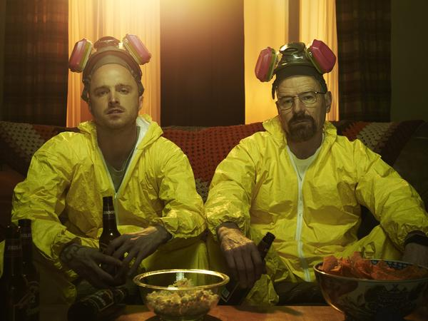Aaron Paul and Bryan Cranston as Jesse and Walt on AMC's <em>Breaking Bad</em>, which will have its finale in a few weeks.