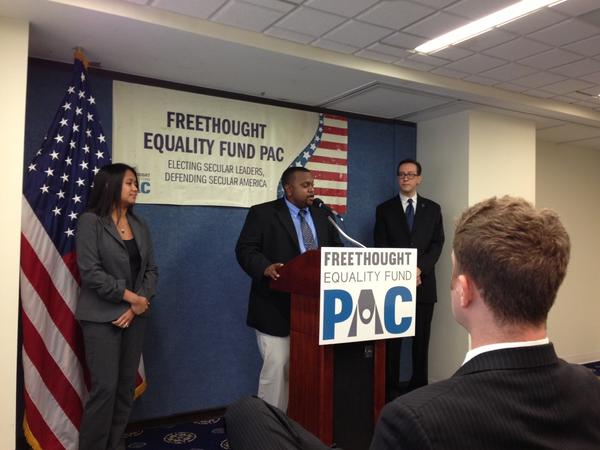 Bishop McNeil, who isn't a cleric despite his name, speaks to reporters Wednesday at a news conference to introduce the Freethought Equality Fund PAC.