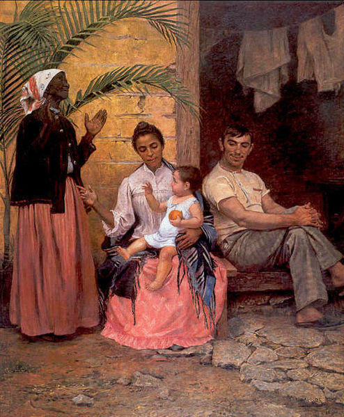 <strong>Moving On Up:</strong> <em>The Redemption of Ham,</em> a 19th century painting by Modesto Brocos, portrays a dark-skinned grandmother celebrating the fact that her grandson has lighter skin.