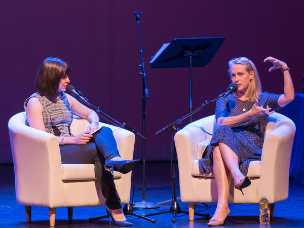 Piper Kerman (right) and <em>Ask Me Another </em>host Ophira Eisenberg.
