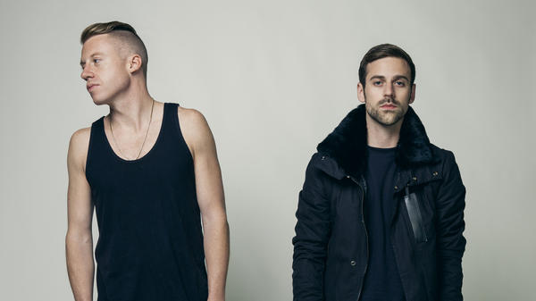 """Macklemore (left) and Ryan Lewis, whose """"Thrift Shop"""" was the biggest song of 2013, according to <em>Billboard</em>'s year-end chart."""