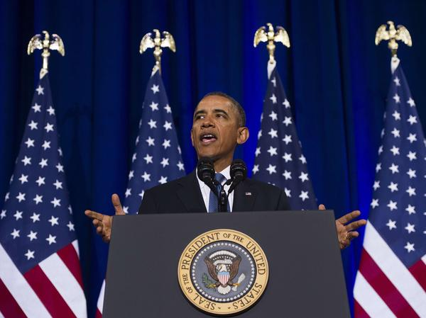 President Obama speaks about the National Security Agency and intelligence agencies surveillance techniques during a speech Friday at the Department of Justice in Washington, D.C.