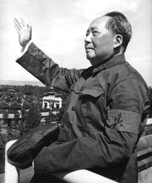 "Mao Zedong reviews the army forces of the ""Great Proletarian Cultural Revolution"" at  Tiananmen Square in August 1966."
