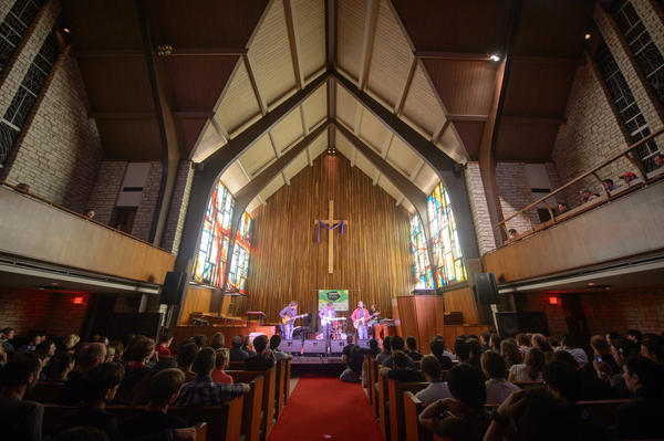 Real Estate on stage during Pitchfork's SXSW showcase at Austin's Central Presbyterian Church.