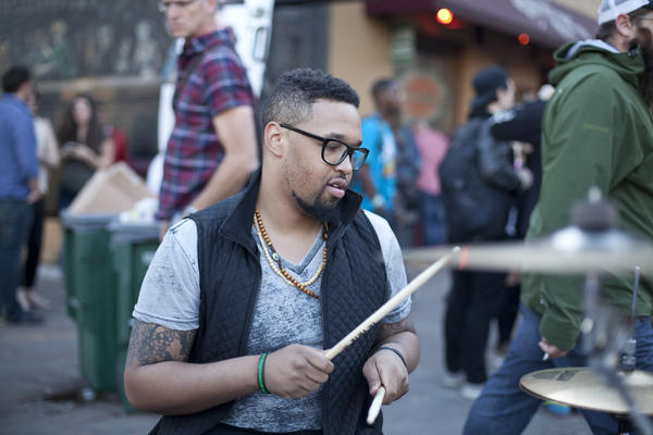 Drums on the street in Austin during SXSW 2014.