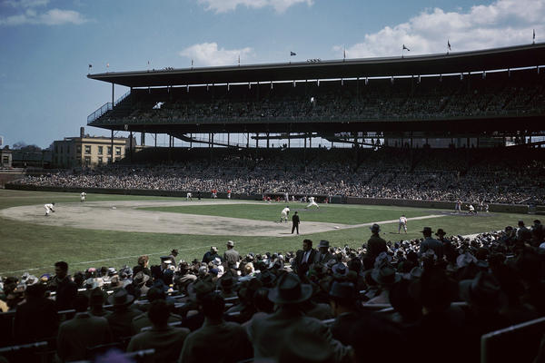 The view inside Wrigley Field during a 1959 Cubs game. The stadium was built in 1914 and celebrates its centennial this year.