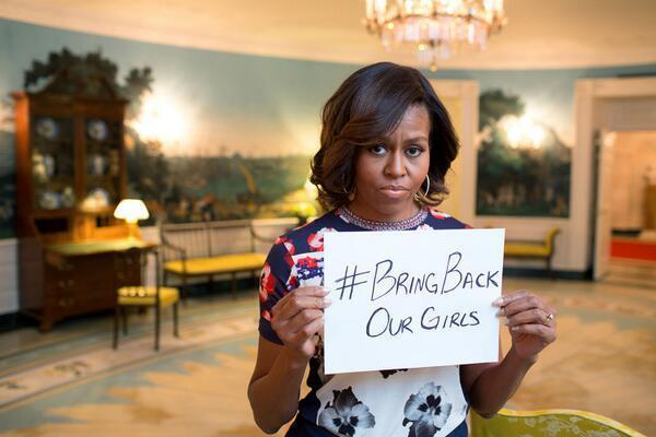 Michelle Obama tweeted this picture of herself on May 7, in support of the kidnapped Nigerian girls.
