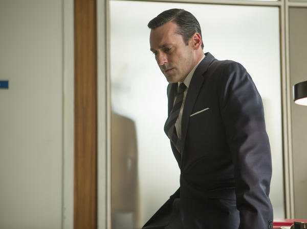 Jon Hamm as Don Draper, who ended the first half of <em>Mad Men</em>'s last season in a state of uncertainty — as always.