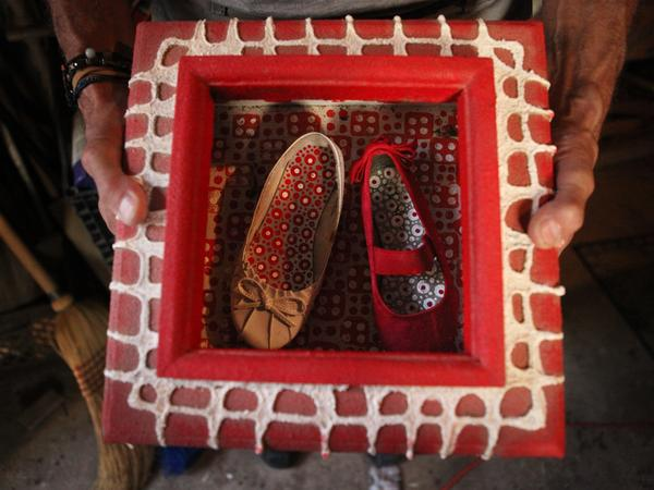 <em>Patterned Shoes</em>, one of Spider's works-in-progress, features shoes he found near his house.