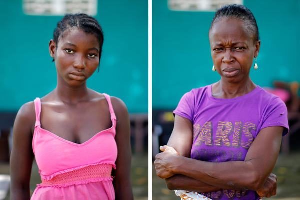 Irene Talo (left), 19, and Miatta Kiazolu, 55, are Ebola survivors. Both received Dr. Gabriel Logan's experimental treatment.