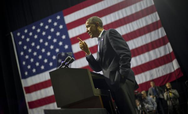 President Obama stumped for gubernatorial candidate Tom Wolf this weekend in Philadelphia. Wolf's victory Tuesday was among the few bright spots for Democrats.
