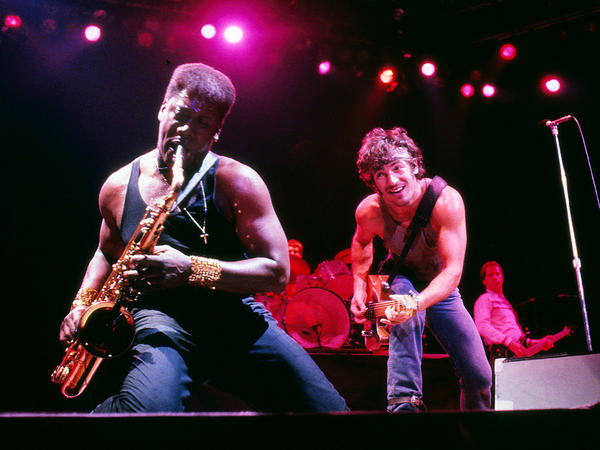Adolphe Sax's invention has found its way into many styles of music. Here, Clarence Clemons plays the tenor sax with Bruce Springsteen and the E Street Band in Lexington, Ky., in 1984.