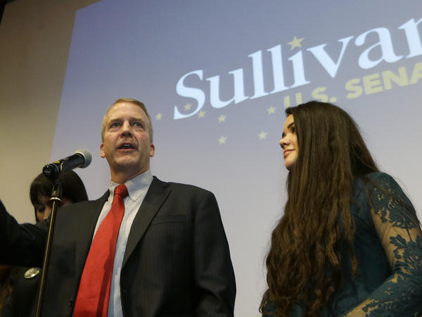 Republican U.S. Senate candidate Dan Sullivan greets supporters on election night in Anchorage. The as-yet-undecided race between Sullivan and Democratic incumbent Sen. Mark Begich was the hottest in the state.
