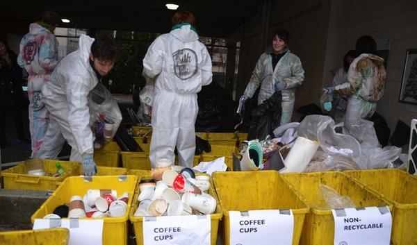 Portland State University art students conduct a waste audit of their building to find out what's being thrown away. The class used the audit data to design posters and a series of videos for promoting waste-reduction practices on campus.