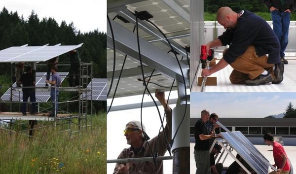 Lane Community College students in the Renewable Energy Technician program install solar panels on the LCC campus in Eugene, Ore. The two-year degree program trains students for employment designing and installing solar electric and hot water systems.