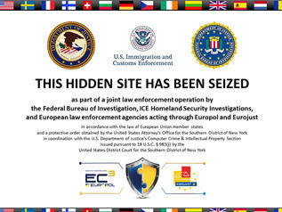 The message that greets visitors to the sites that were seized in coordinated raids in the U.S. and across Europe.