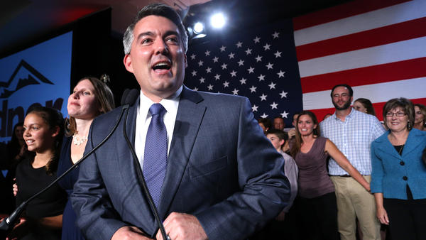 Senator-elect Cory Gardner of Colorado delivers his victory speech to supporters during a GOP election night gathering. Gardner appealed to moderates and unaffiliated voters.