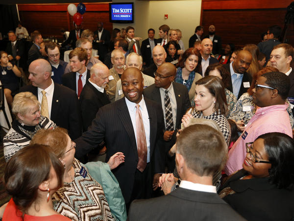 Sen. Tim Scott, R-S.C. greets supporters after winning his Senate race over challengers Jill Bossi and Joyce Dickerson on Tuesday.