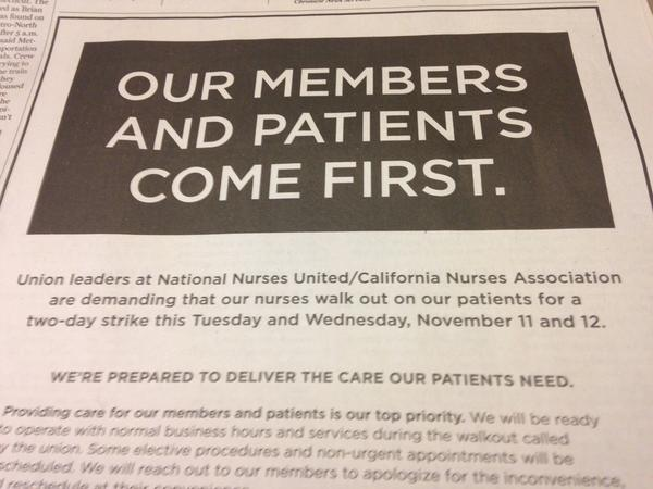 Kaiser Permanente is running ads in Northern California papers in advance of the proposed strike.