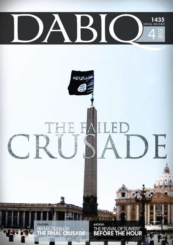 "The cover of the latest issue of <em>Dabiq, </em>the official Islamic State magazine. It includes a lengthy article on ""The Revival of Slavery,"" which it endorses."