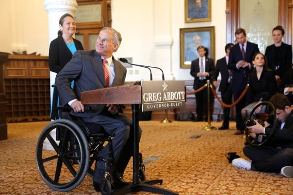 Texas Governor-elect Greg Abbott introduced his pick for secretary of state, Judge Carlos Cascos of Cameron County, at the Capitol on Nov. 11, 2014.