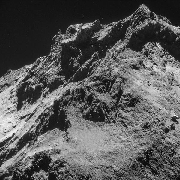 An image of the surface of comet 67P shows the difficulty of landing a spacecraft on it.